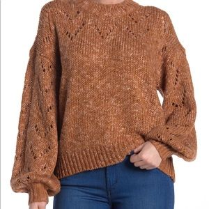 Madewell Pointelle Bubble Sleeve Pullover Sweater